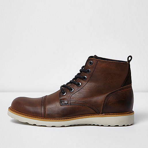 Brown leather contrast sole wedge boots