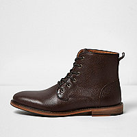 Dark brown tumbled leather boots