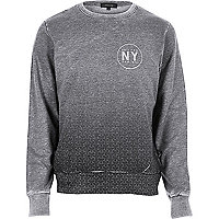 Grey faded print sweatshirt