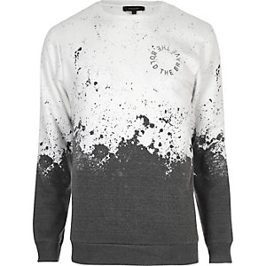 White faded splatter print sweatshirt