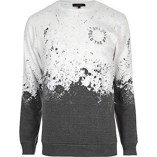 Weißes Sweatshirt mit Fleckenmuster
