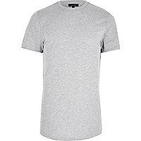 Grau meliertes, langes T-Shirt