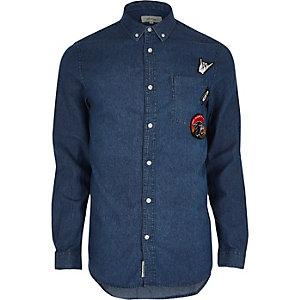 Chemise en jan casual bleu délavé à écussons
