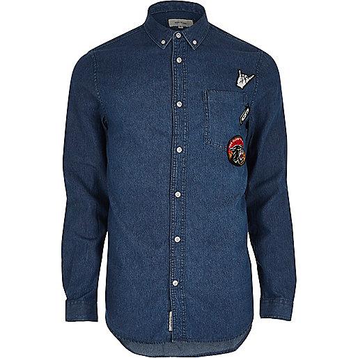 Blue wash casual badge denim shirt