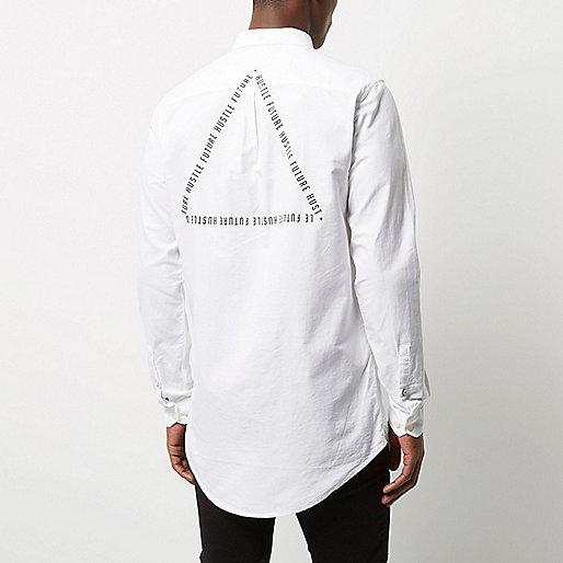 White casual logo longline Oxford shirt