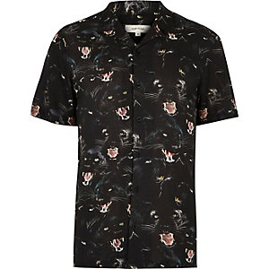 Black jaguar print soft casual shirt