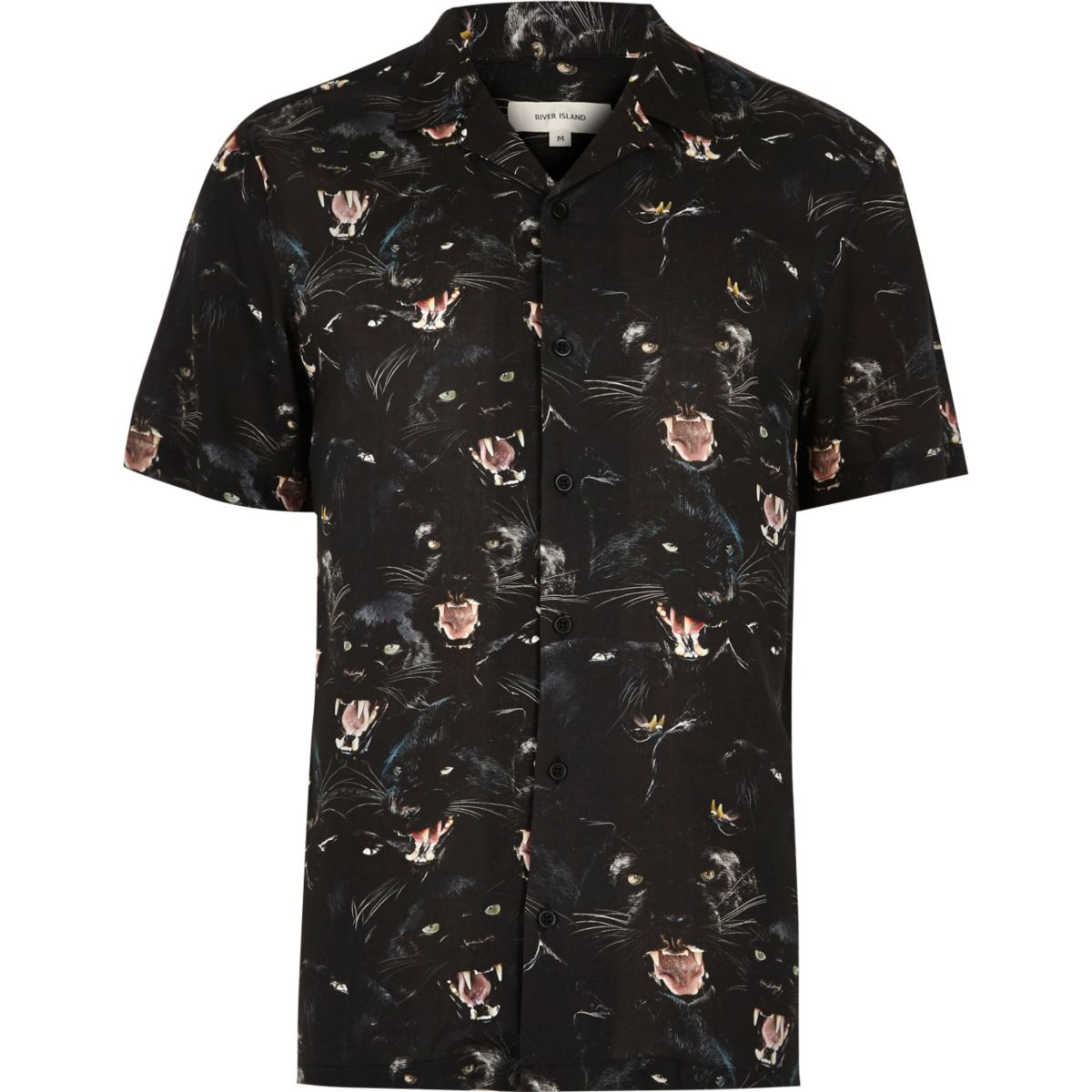 Black jaguar print soft casual shirt