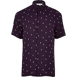 Paars casual overhemd met bliksemprint