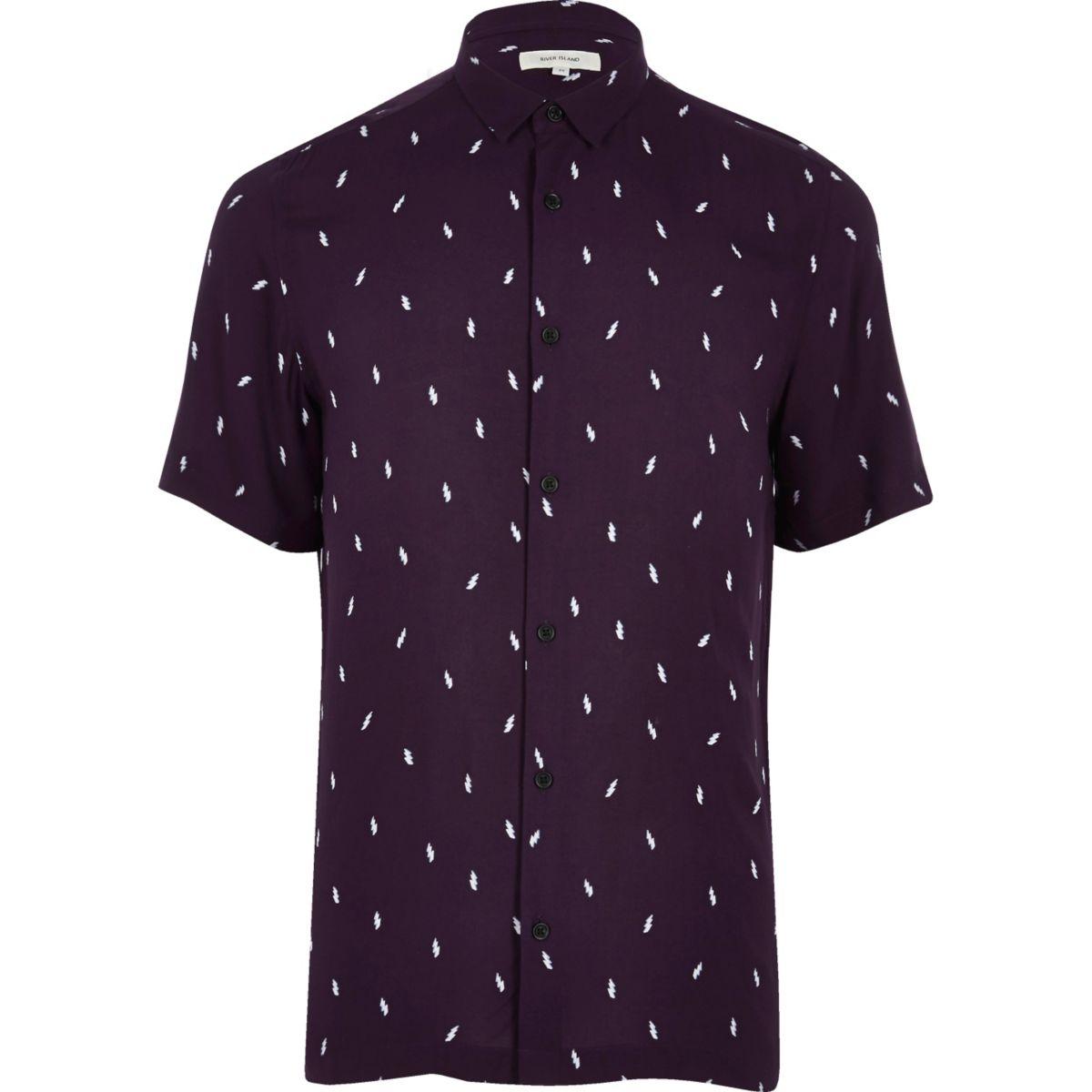 Purple lightning print casual shirt