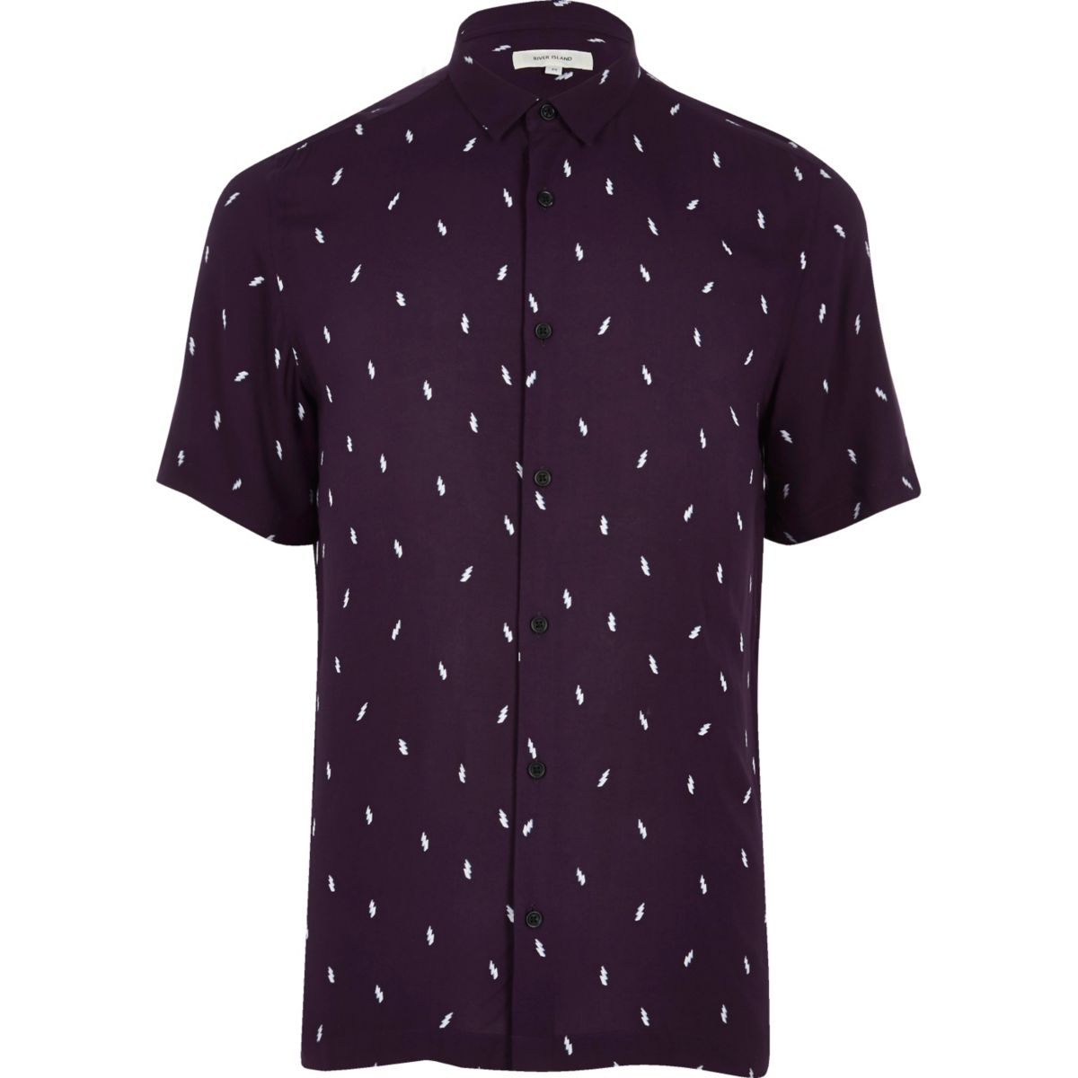 Purple lightning print casual shirt