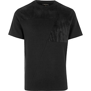 Black block mesh trim T-shirt