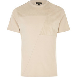 Cream block mesh trim T-shirt