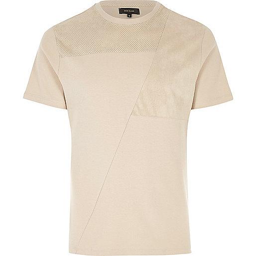 Cream block mesh trim T-shirt