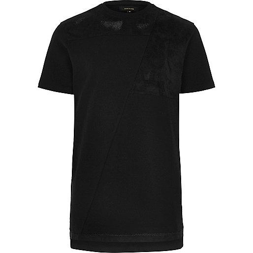 Black block mesh trim longline T-shirt
