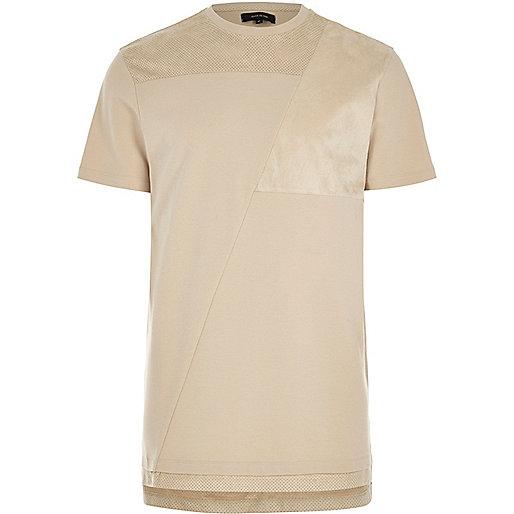 Stone block mesh trim longline T-shirt