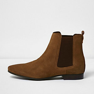 Bottines Chelsea en daim marron moyen
