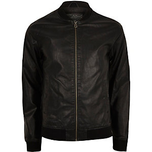 Black Jack & Jones leather bomber jacket