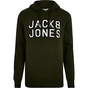 Dark green Jack & Jones printed hoodie