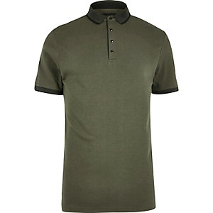 Khaki green popper polo shirt