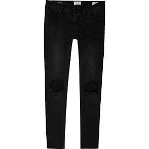 Only & Sons – Schwarze Skinny Jeans im Used-Look