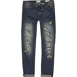 Only & Sons blauw slim-fit ripped jeans