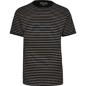 Marineblaues, gestreiftes Regular Fit T-Shirt