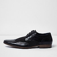 Black panel smart brogues