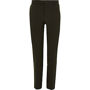 Dark green skinny fit suit pants