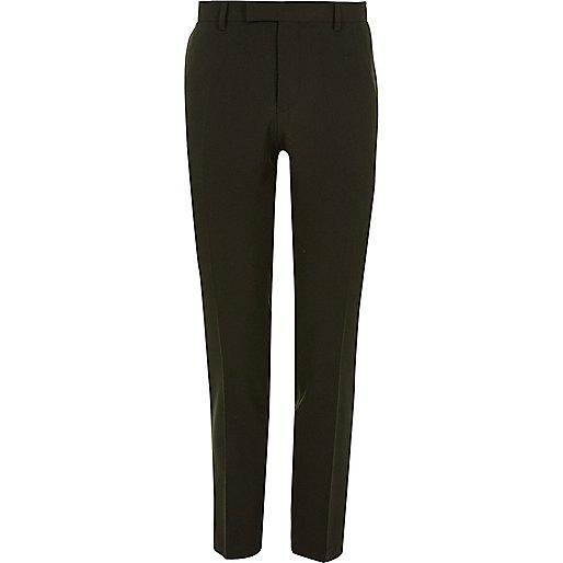 Dark green skinny fit suit trousers