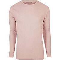 Pink ribbed slim fit long sleeve T-shirt