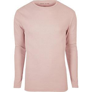 T-shirt rose côtelé cintré à manches longues