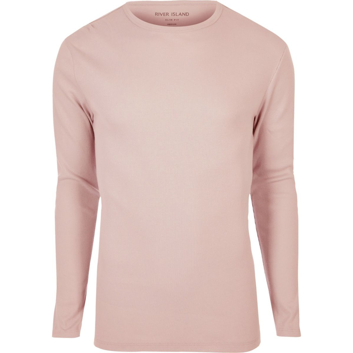 Pink ribbed slim fit long sleeve t shirt t shirts for Long sleeve fitted tee shirt