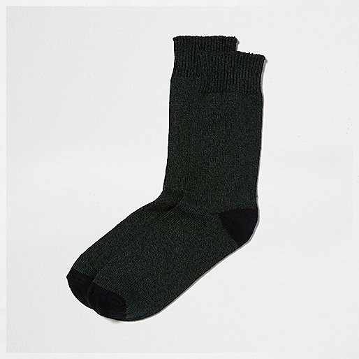 Dark green twist socks