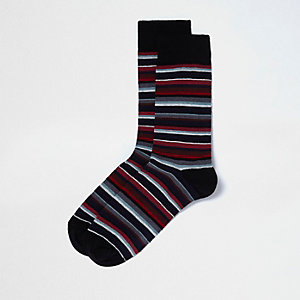 Red multi stripe tube socks