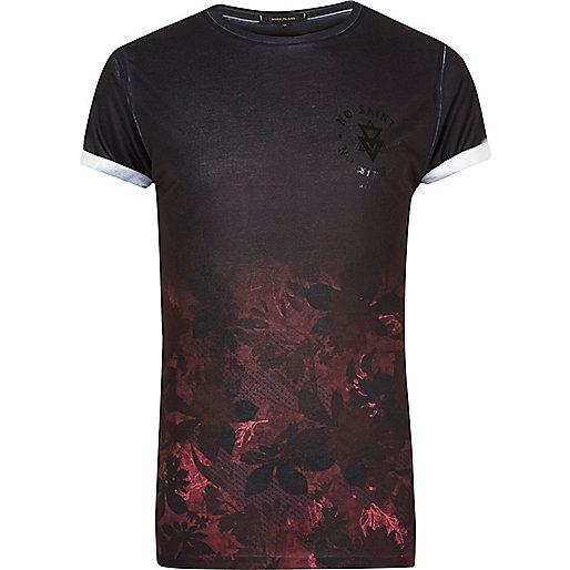 T-shirt imprimé fleurs en dégradé noir