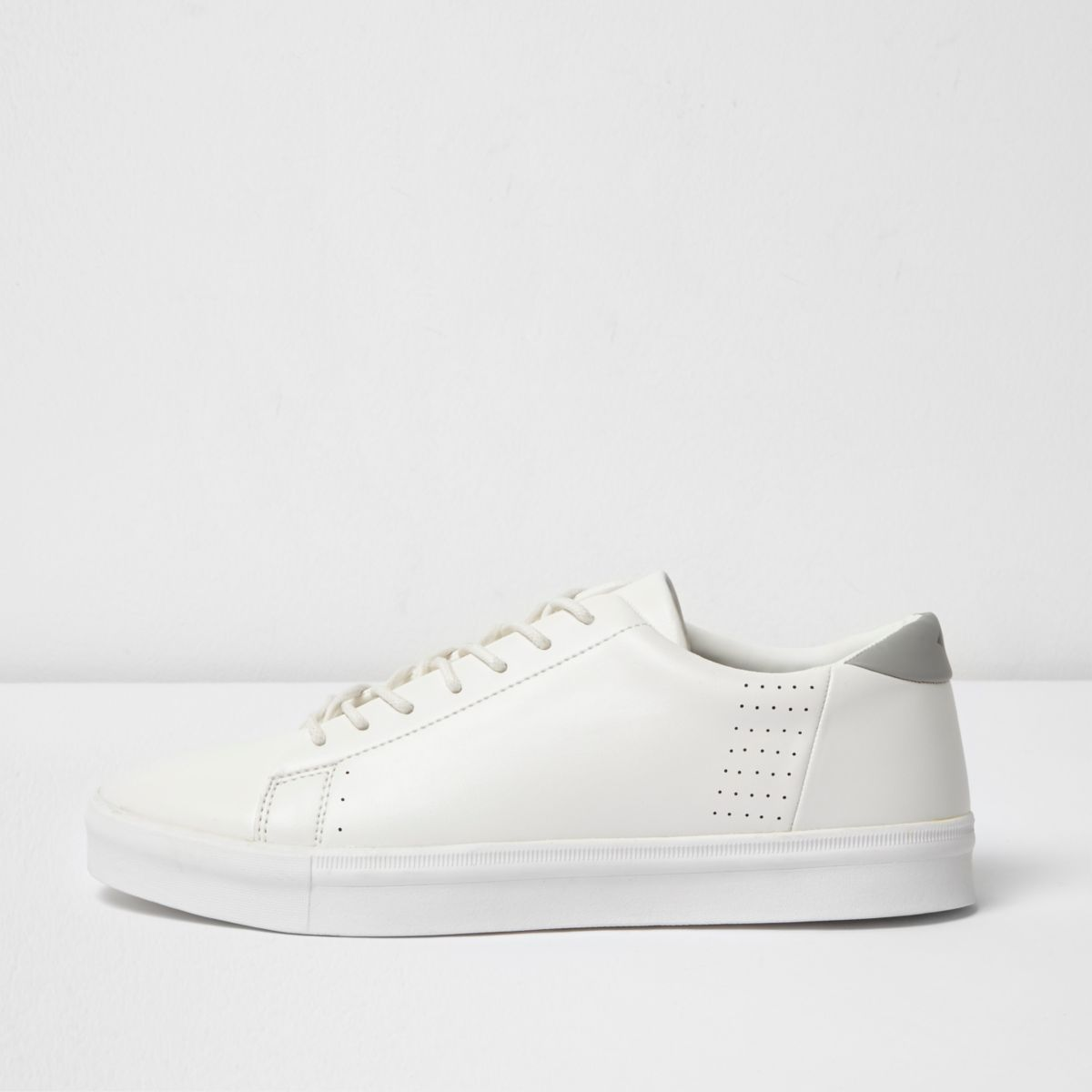 White lace-up perforated sneakers