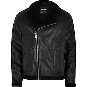 Black Only & Sons faux leather biker jacket