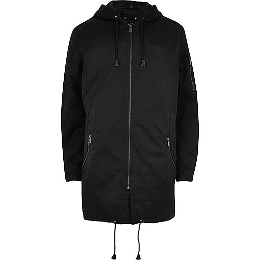 Black Only & Sons hooded parka