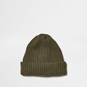 Khaki green fisherman beanie