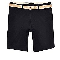 Navy chino shorts with ecru belt