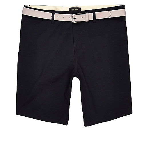 Navy chino shorts with stone belt