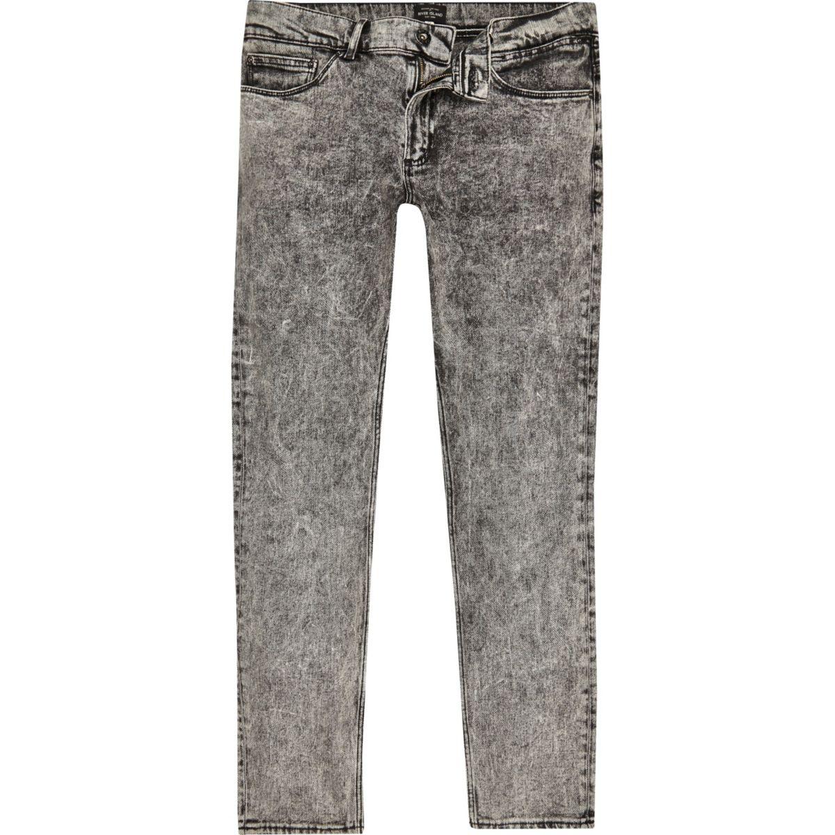 Sid - Zwarte acid wash skinny jeans