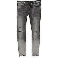 Sid – Hellgraue Skinny Jeans im Used-Look