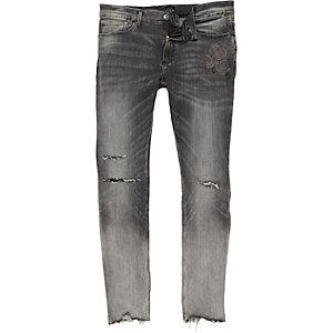 Sid vervaagd grijze ripped skinny jeans