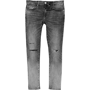 Danny – Graue Super Skinny Jeans im Used-Look