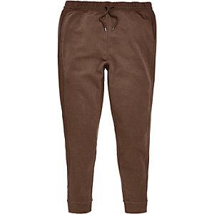 Pantalon de jogging marron clair avec empiècements cousus