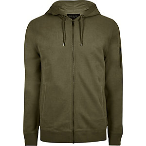 Dark green casual zip front hoodie