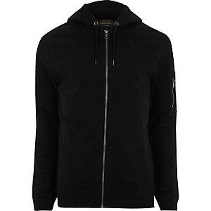 Black casual zip front hoodie