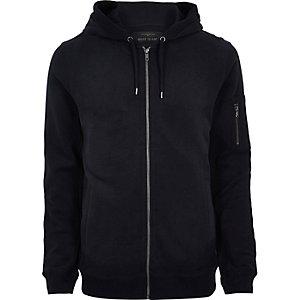 Navy blue casual zip front hoodie