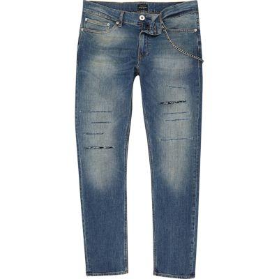 Sid donkerblauwe skinny jeans met ketting